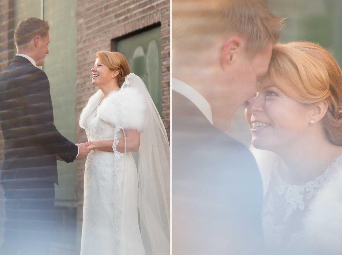 Bruidspaar bij het Indieterrein in Almelo tijdens een bruidsreportage